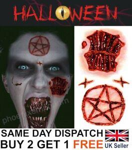 Halloween Zombie Scars Tattoos Fake Blood Pentagram Star Scar Wound Make-Up Kit