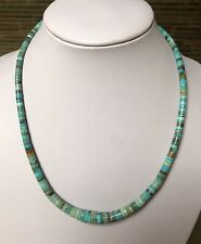"""Santo Domingo Graduated Turquoise Sterling 4-10mm Heishi  Necklace 19"""""""