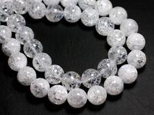 1pc - Perle de Pierre - Cristal de Roche Quartz Craquelé 14mm   4558550004000