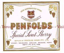 Unused 1940s AUSTRALIA Sydney PENFOLDS SPECIAL SWEET SHERRY WIne Label
