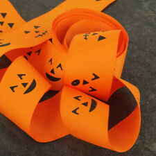 2m of Halloween Grosgrain Ribbon 40mm Orange Pumpkin Face scene H2