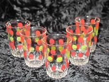 Vintage Shot Glasses x 5 with Retro Green and Red Colour Pattern