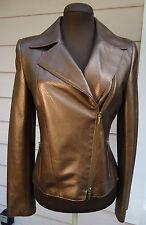 NEW $2390 AKRIS Punto Bronze Toffee Leather Moto Jacket Perforated Metallic 42 6