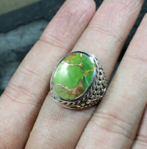 Green Copper Turquoise Gemstone 925 Sterling Silver Handmade Mens Ring JewelryRZ