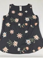 Chico's Black Floral Tank Top Blouse Sleeveless Embroidered Size 1 Medium M