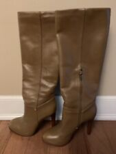 TORY BURCH Taupe Leather Gold Logo High Heel Knee High Boots Size 8 1/2 M