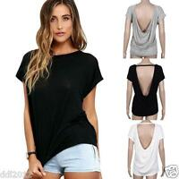 Women Fashion Loose Batwing Sleeve Backless Blouse Casual Tops Ladies T-Shirt