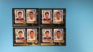 4X 2016-17 Panini Fifa 365 Golden Sticker #8 Lionel Messi Cristiano Ronaldo