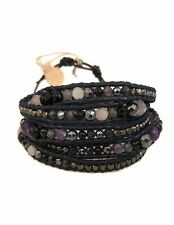 NEW CHAN LUU Fashion Onyx Crystal Mix Nuggets 5-wrap Leather Wrap Bracelet