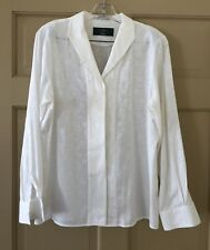 Orvis Women's Blouse Ivory Flowered Fabric Long Sleeve Size 10, EUC