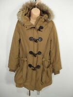 WOMENS NEW LOOK UK 10 BROWN ZIP TOGGLE FAUX FUR HOODED FITTED BELTED PARKA COAT