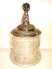 Antikes Bowle Gefäß, Deckel versilbert, wohl um 1890 Antik Glas Topf Behälter