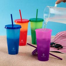 Manna 4 Color Changing Reusable Tumblers w/ Lids & Straw Set - 24oz 710mL