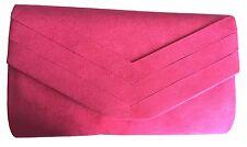 Pink Clutch Bag Cerise Shoulder Bag Fuchsia Hot Pink Faux Suede Prom Evening Bag