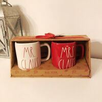 2 NEW Rae Dunn Magenta RED Christmas Mugs Gift Box Set MR. CLAUS & MRS. CLAUS
