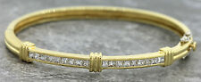 Vintage 1970 Estate 18K 750 Yellow Gold 2.16ctw Princess Diamond Bangle Bracelet