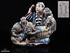 Singes Figural groupe de poterie antique Japonais Banko Ware
