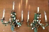 French Tole Floral Light Sconces Wired Porcelain Flowers Butterfly Pair Antique