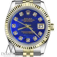 Ladies Rolex 26mm Datejust 18K & SS Blue Treated Pearl Diamond Numbers Watch