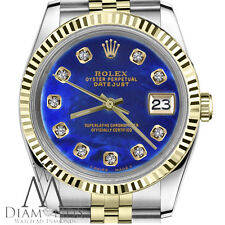 Small Size Rolex 26mm Datejust 18K Gold 2Tone Blue Treated Pearl Diamond Numbers
