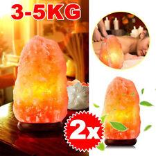2x Himalayan Salt Pink Rock Crystal Lamp 3-5kg Natural Healing Ionizing Lamps