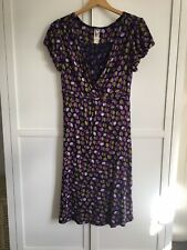 Mistral Purple And Green Printed Short Sleeve Dress Size 10