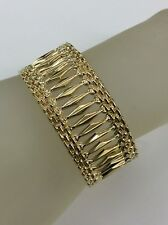 14kt Yellow Gold Wide Cleopatra Gypsy Stampato Ladies Bracelet 8""