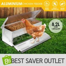 Aluminium Auto Chook Poultry Chicken Food Feeder Treadle Self Opening Coop 8.2L