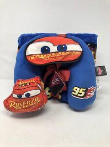 Disney Pixar Cars 3 Piece Kids Travel Set Pillow Blanket Sleeping Mask New w/Tag