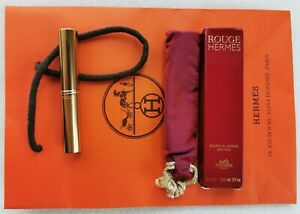 Antique ROUGE HERMES PARIS Vintage Lipstick 2g Engraved Metal in Box & Pouch