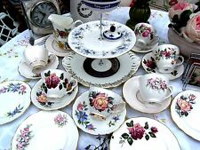 Gorgeous Floral Mismatched China Teaset 21 Piece Mad Hatter 2/3 Tier Cake Stand