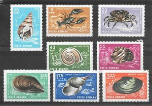 Stamps of Romania - 1966 - Crustaceans & Molluscs -  Sg 3412-9 Mint Never Hinged