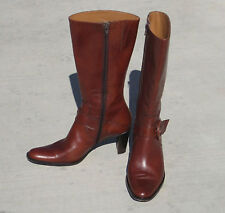 NEW WOMENS FACONNABLE WARM BROWN LEATHER HEEL BOOTS ITALY 37.5 7M