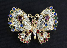 NEW BUTTERFLY RED PURPLE BLUE GREEN GENUINE CRYSTALS GOLD PLATED PIN BROOCH