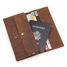 Mens Genuine Leather Long Bifild Wallet Clutch Passport Case Check Book Purse
