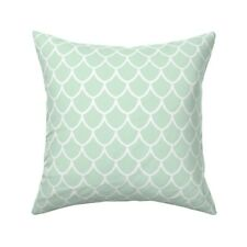 Mint Mermaid Scales Fish Ocean Throw Pillow Cover w Optional Insert by Roostery