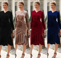 Women Vneck Long-sleeve Velvet Elegant Fishtail Slim Cocktail Sexy Mermaid Dress