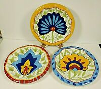"Set of 3 Colorful  Pier 1 Earthenware Floral Bread Dessert Salad 8 1/4"" Plates"
