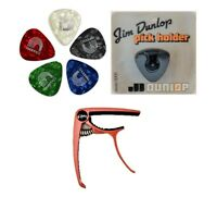 Jim Dunlop Pick Holder, D'Addario Classic Picks Assorted Pearl & Red Guitar Capo