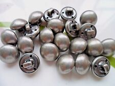 40pcs Button Metal Alloy Silver Black Tone Domed Shank Sewing Jeans 12mm