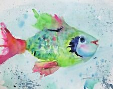 colorful fish 11x15 animals watercolor art Delilah