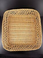 """Vintage Wicker Tray 15"""" x 14"""" x 3"""" Woven Rattan Serving Tray"""