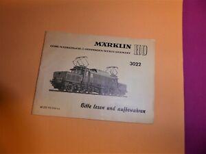 """MÄRKLIN 3022 alte Beschreibung """"68 322 YN 0164 ka"""" für E194 DB E-Lok (1)"""