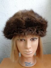 EXCELLENT NATURAL BROWN MUSKRAT FUR HAT CAP WOMEN WOMAN SIZE ALL