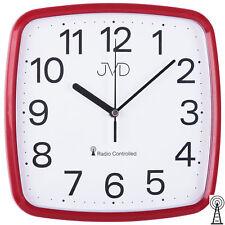 JVD RH616.4 Wanduhr Funk Funkwanduhr analog rot viereckig Breite ca. 24 cm