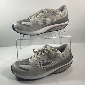 MBT Women's Size 10.5 Moja Gray And White Suede And Leather Rocker Walking Shoes