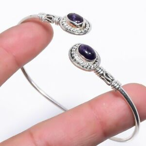 African Amethyst Gemstone Handmade Silver Jewelry Cuff Bracelet Adjustable RC139