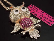 Betsey Johnson Cute fashion inlay Crystal Owl Pendant Necklace # F265