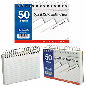 """2pc Spiral Bound Index Cards White 3"""" X 5"""" Ruled Front 50 Sheets Office School"""