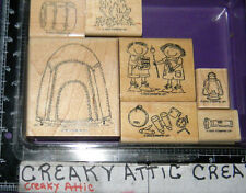 STAMPIN UP CAMPOUT 7 RUBBER STAMPS TENT KIDS CAMPFIRE SLEEPING BAG FLASHLIGHT